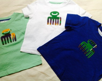 Cotton T-shirts with African ethnic appliqué Duafe in kente print