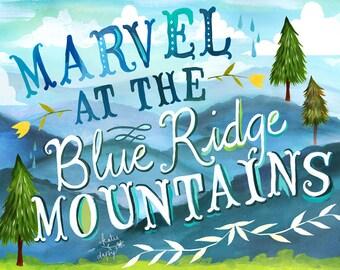 Blue Ridge Mountains Art Print | Nature Wall Art | Smoky Mountains Decor | Katie Daisy | 8x10 | 11x14
