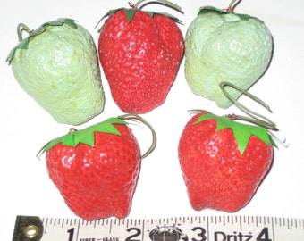 5 Vintage Strawberries for Crafting Red and Green