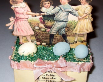 Vintage Style Victorian Easter Candy or Treat Box with Children and Eggs