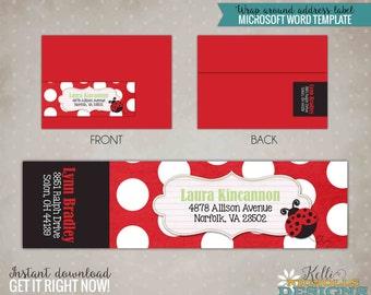 Ladybug Wrap Around Return Address Label Template, Custom Envelope Wrap Label, Instant Download #B111