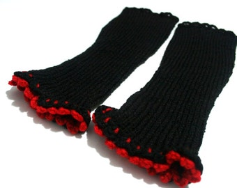 SALE Black arm warmers with red ruffled trims