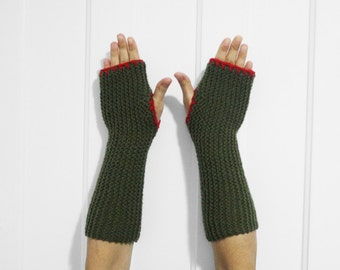 SALE Long Fingerless Gloves / Armwarmers [Army Green & Red]