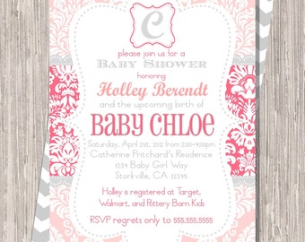 Pink and Gray Damask Baby Girl Shower Invitation, 5x7 printable or printed