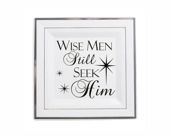 Christmas Decal Christmas Decoration Stars and Wise Men Still Seek Him Holiday Decor Vinyl Wall Decal, Charger Plate Glass Block Tile Decal