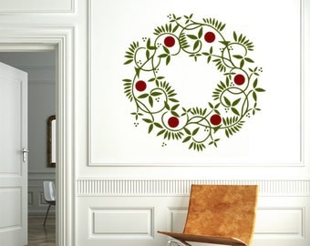 Christmas Wreath Christmas Vinyl Wall Decal Sticker Christmas Decoration Holiday Decoration Holiday Wreath Christmas DIY Window Decal