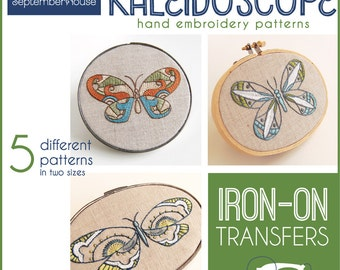 Iron on Embroidery Patterns Iron On Transfers Kaleidoscope Butterfly patterns for hand embroidery embroidery kit multi pattern collection