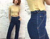 Valentine SALE 1970s jeans / 70s jeans / 70s denim wide leg flares / vintage denim dark wash jeans / high waisted denim