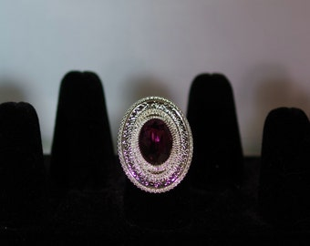 Silver & Swarovski Crystal Jewelry - Ring - Adjustable - Shown with Amethyst - Assorted Colors