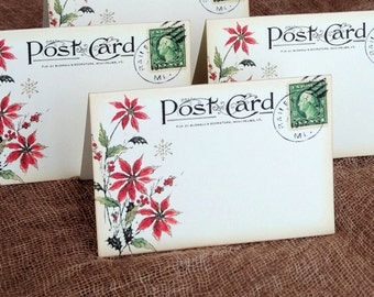 Wedding Place Cards Vintage Style Red Poinsettia Postcard Tent Style Place Cards or Table Place Cards #379