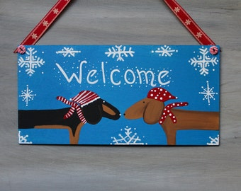 Winter WELCOME Sign Dachshunds