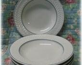 6 Shenango China Bowls Restaurant Ware Blue Stripe Leaf Rimmed Pasta Flat Soup