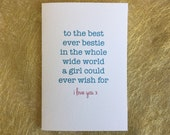 Best friend card, bestie card, birthday card, valentines day, friend card, Friendship card, love card, mother card, daughter, sister mom mum