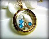 Eiffel Tower Gold Locket Necklace, Paris, France, Extra Long Chain, Memory, Charm, Floating, Glass, Living