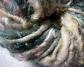 Handspun Lockspun Hand Dyed Soft Curly Bulky Cotswold Wool Art Yarn in Pale Green and Rosy Gold by KnoxFarmFiber for Knit Weave Crochet