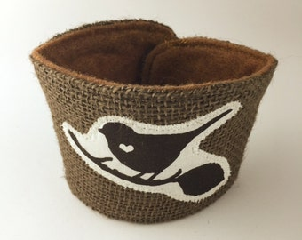 Little Bird on Branch Love Coffee/Beer Cozy with Gift Card Holder Option