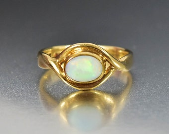 Vintage Opal Ring, Gold Opal Engagement Ring, Gold Wedding Ring Band, Opal Stacking Ring, Love Knot Ring, Gold Band Ring, October Birthstone