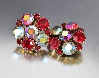 Vintage Garnet Ruby Earrings, Aurora Borealis Rhinestone Earrings, Clip On Statement Earrings, 1950s Jewelry, Juliana Style Earrings
