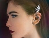 Dragon Ear Wrap Dragon Ear Cuff Silver Elfin Dragon Earwrap Dragon Jewelry Dragon Earring Bling Jewelry Celebrity Style Ear Wrap Statement