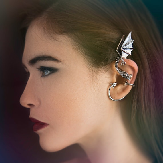 Dragon Ear Wrap Dragon Ear Cuff Silver Elfin Dragon Ear Wrap Dragon Jewelry Game of Thrones Inspired Non-Pierced Earring Bling Jewelry Celeb