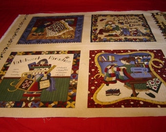 FABRIC QUILTING PANEL, Cheri Strole, Lisenced, Quilting, Bags, Runners, Pillows, Moda, Out of Print