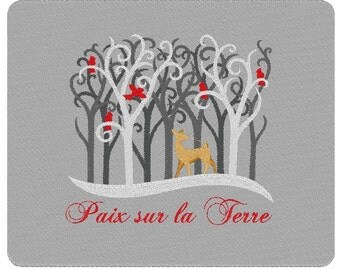 Paix Sur La Terre French Peace on Earth Winter Deer Cerf Forêt Approx. 10 x 8 Inch Embroidered Pillow Oreiller Linen or Wool La Laine