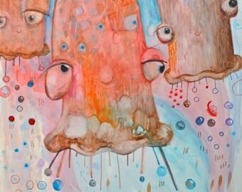 OOAK Original Happy Floaties Watercolor Painting on Claybord