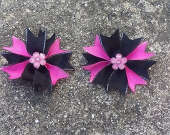 Pink and Black Flower Hair Bow