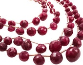 Ruby Briolettes, Natural Ruby Beads, Faceted Ruby Beads, Ruby Beads, Rubies, Faceted Onion Briolettes, Ruby Drops, July Birthstone, SKU 3562