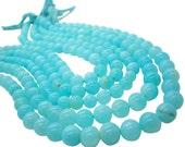 Blue Peruvian Opal Beads, Peruvian Opal Beads, Blue Opal Beads, Round, Aqua Gemstone, Wholesale Opal, SKU 4923