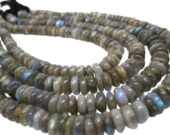 Labradorite Beads, Labradorite Rondelles, Smooth Rondelles, Roundels, SKU 4253A