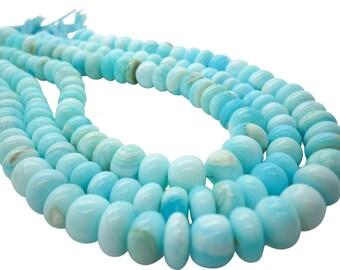 Blue Peruvian Opal Beads, Peruvian Opal Beads, Blue Opal Beads, Rondelles, SKU 5096