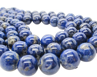 Lapis Lazuli, AAA Lapis Beads, 14mm Smooth Round, SKU 5109A
