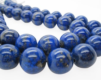 Lapis Lazuli, AAA Grade Lapis Beads, 16mm Smooth Round, Full Strand, SKU 5123A