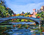 Central Park NYC Bow Bridge Painting New York Art Central Park, Landscape, Cityscape Urban  Print  City Painting by Gwen Meyerson