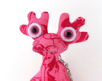 Cute Keychain, Monster Keychain, Alien Keychain, Stocking Stuffer, Pink Keychain by Adopt an Alien named Melonie