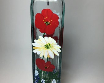 Olive Oil Bottle Red, White & Blue Garden Poppies, Daisies and Texas Bluebonnets