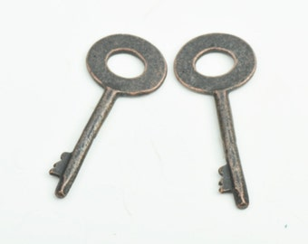 Key Charm,  sold by 6 each , Copper antique finish, 15832CO