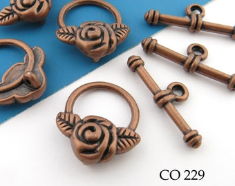 15mm Rose Toggle Clasp Antique Copper Clasp (CO 229) 6 sets BlueEchoBeads