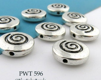 Large Pewter Spiral Coin Beads 14mm Disk Antique Silver (PWT 596) 6 pcs BlueEchoBeads