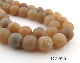 8mm Apricot Druzy Agate Geode Beads Matte Peach Frosted (DZ 525) 22 pcs BlueEchoBeads