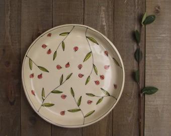 Ladybug plate, ceramic ladybug plate, dish with ladybug design, hand drawn ladybug, small plate for her.