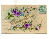 Vintage -HANDPAINTED FLOWERS on CELLULOID Postcard - Early French Watercolour fresh colorful postcard - New Year's greetings - Free Shipping