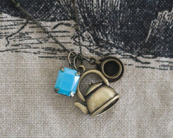 Bronze Tea Lover Charm Necklace