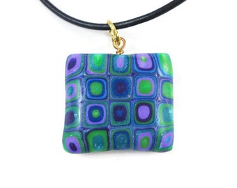 Puffed Square Pendant Retro Cane Necklace Black Leather Cord Art Jewelry Handmade Pendant Blue Purple Green