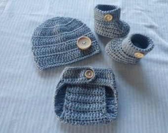 Baby Boy Crochet All Gray Hat Beanie Booties Adjustable Diaper Cover Baby Shower Gift Newborn Photo Prop Reborn Baby MADE TO ORDER