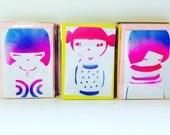 3 Kawaii kokeshi doll cute graffiti greeting cards + mystery card