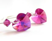 Fuchsia Pink Heart Crystal Earrings - Valentine's Day