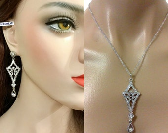 Chandelier Bridal Jewelry Set, Geometric Bridal Earrings, Art Deco Bridal Necklace, Gatsby Wedding Jewelry, Swarovski Wedding Earrings, ALIA