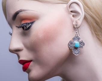 Navajo Turquoise Cross Earrings - Sunwest Silver - 80s Sterling Dangles